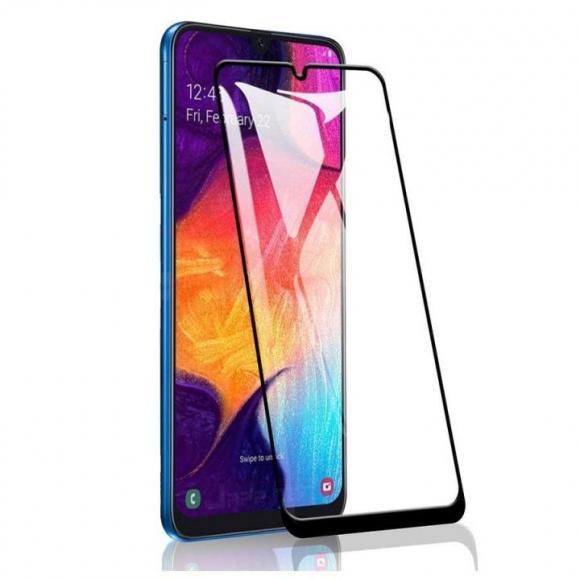 Защитное стекло 2.5D Full Cover+Full Glue для Samsung Galaxy A20/A30/A50 (2019) чёрный тех.пак