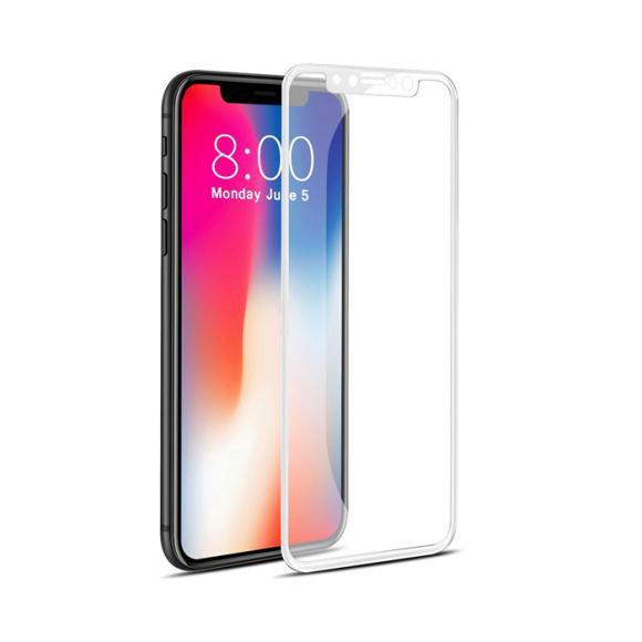 Защитное стекло для iPhone XR 5D полный клей тех/пак (white)