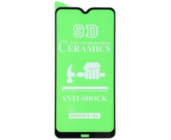 Защитное гибридное стекло Ceramic для Xiaomi Redmi 8A чёрный тех.пак. н/с