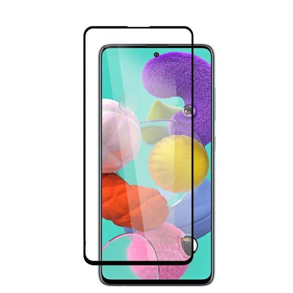 Защитное стекло 3D для Samsung Galaxy A71 Черная рамка