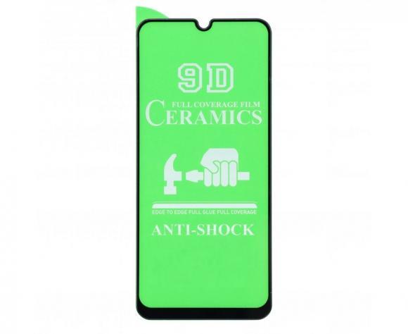 Защитное гибридное стекло Ceramic для Samsung A30/A50/A30S/M21/M31 чёрный тех.пак. н/с