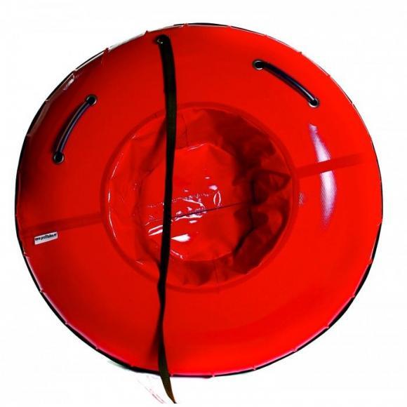 Тюбинг с пластиковым дном 100 см красный