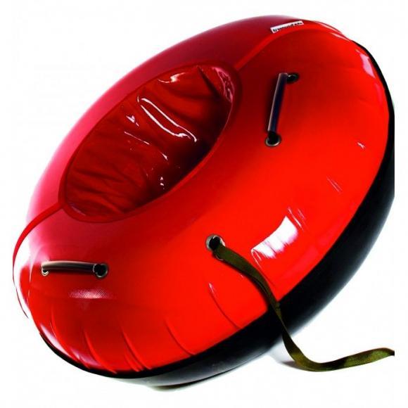 Тюбинг  с пластиковым дном 110 см красный