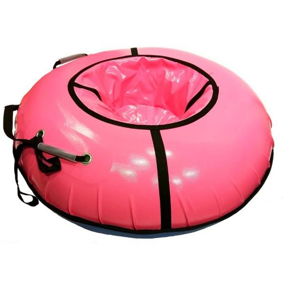 Тюбинг с пластиковым дном 110см розовый